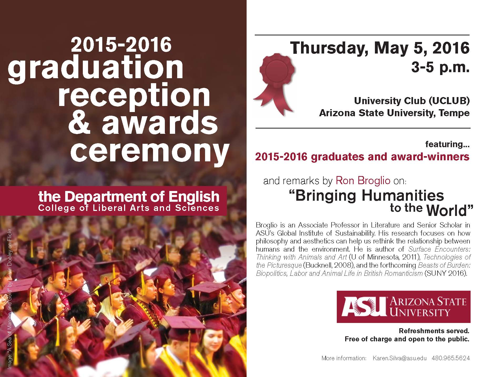 Flyer image from English Graduate Reception 2016