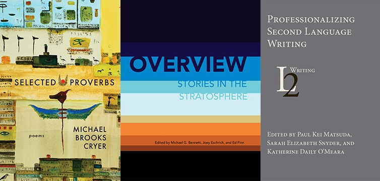 Covers of books by Michael Cryer; Joey Eschrich and Ed Finn; and Paul Matsuda, Sarah Elizabeth Snyder, and Katherine Daily O'Meara