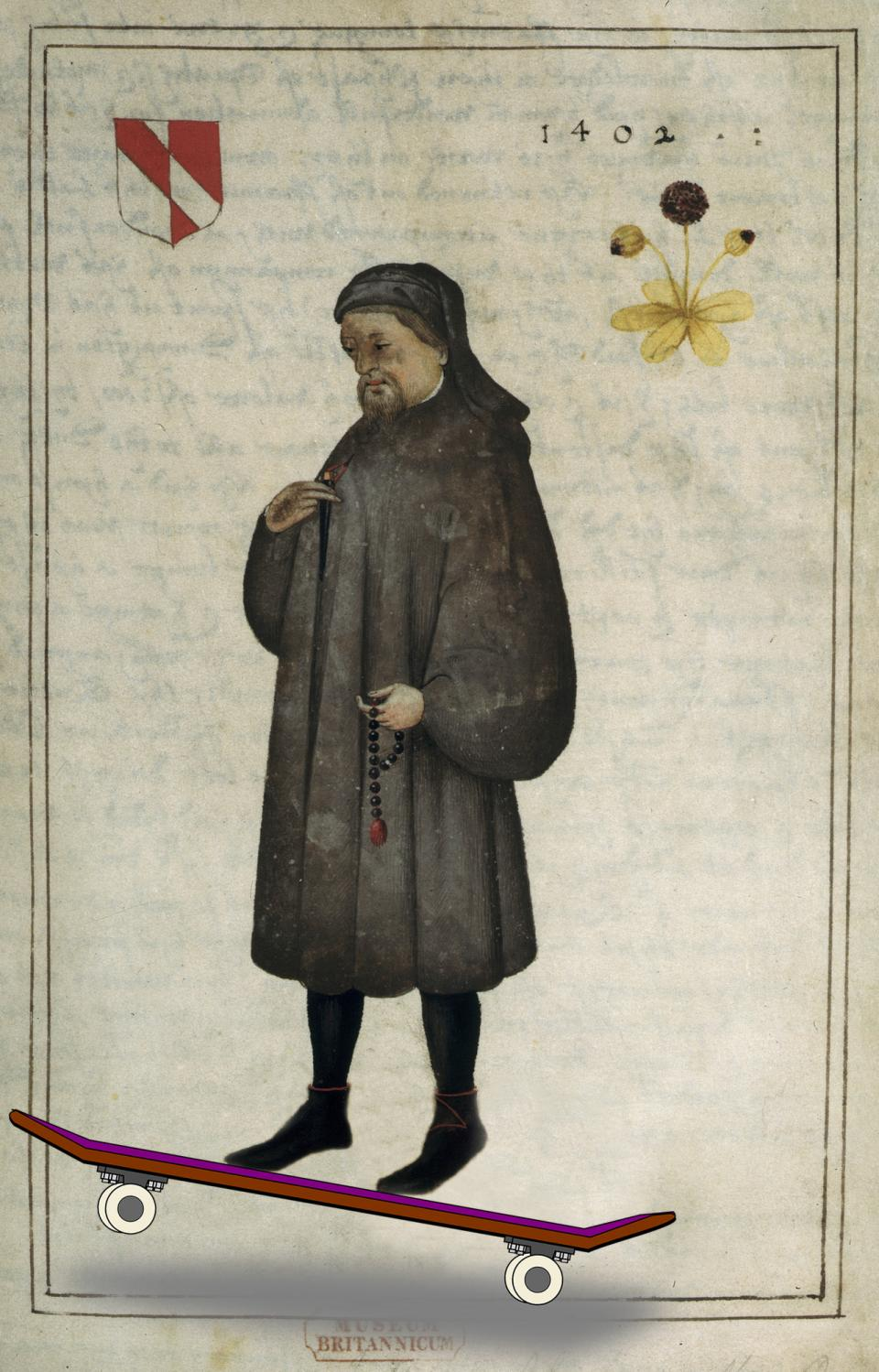 Illustration of Chaucer on a skateboard