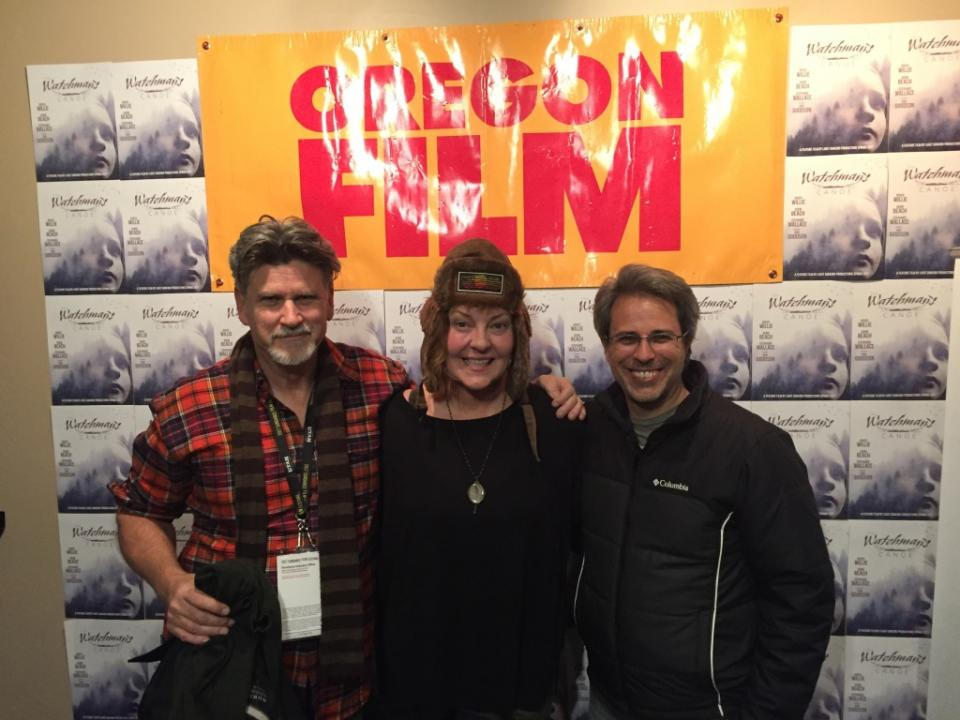 Christopher Bradley, Barri Chase, and Kevin Sandler at Watchman's Canoe screening, Jan. 2017 / Photo courtesy Kevin Sandler