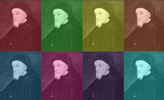 Illustration of Chaucer in the style of Andy Warhol