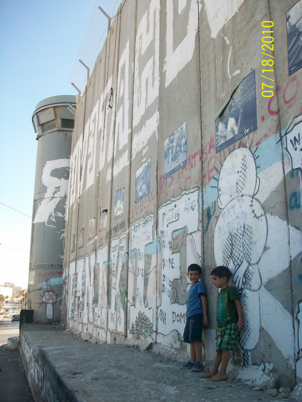 Israeli military watch towers on the Separation Wall / Photo courtesy Sylvia Dahdal
