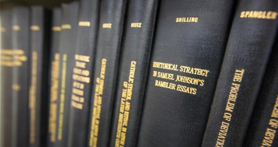 Image of Department of English dissertations located in the graduate student lounge. / Photo by Charlie Leight/ASU Now.