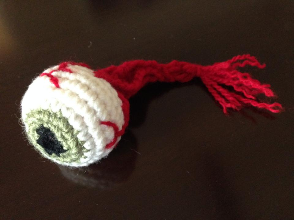Tara Ison's crocheted eyeball for an ophthalmologist friend