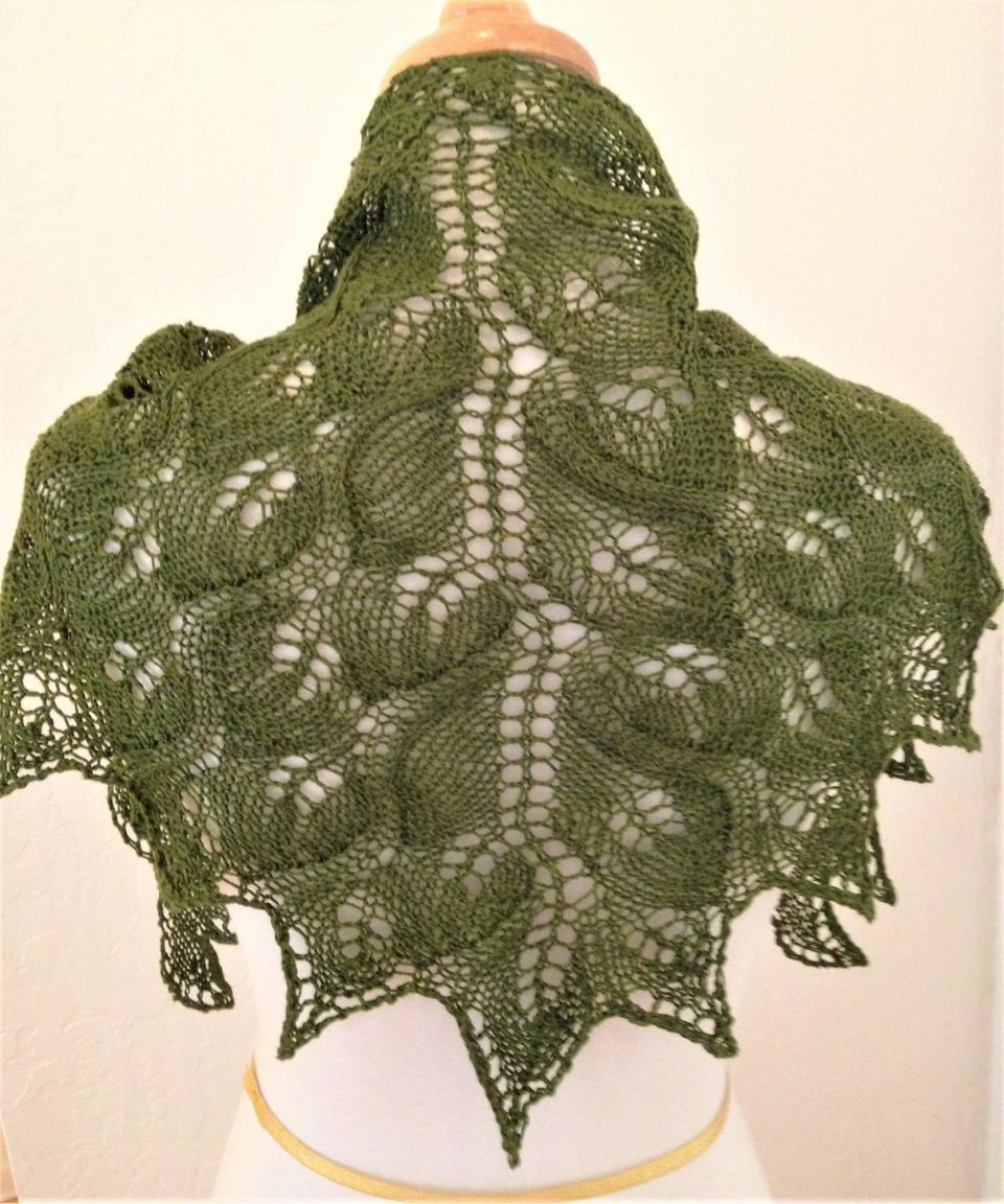 Tara Ison's knitted green lace shawl