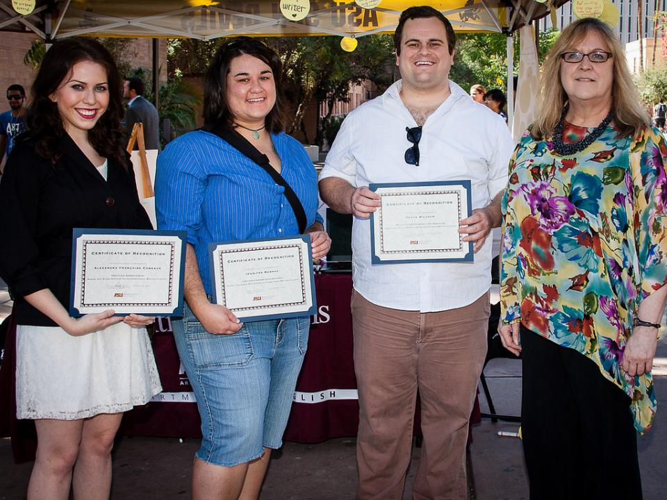 The 2012 McCraw Helms Award winners were honored during the National Day on Writing festivities at ASU. Pictured, left to right: Alexandra Comeaux, Jennifer Murphy, and Heath Wilcock, with Department Chair Maureen Goggin. Photo by Bruce Matsunaga.