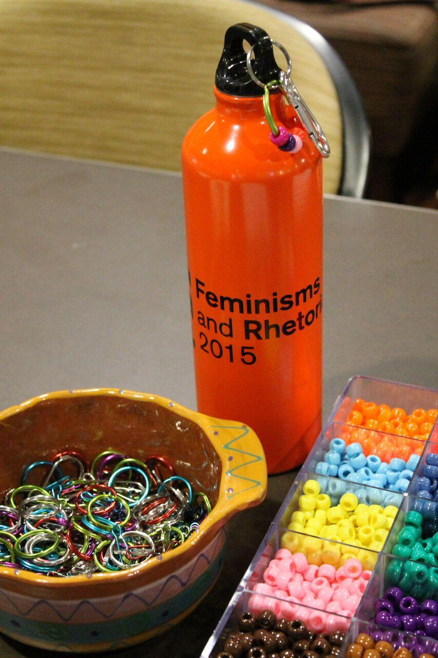 Image of beading supplies used by FemRhet 2015 participants / Photo by Jennifer Russum