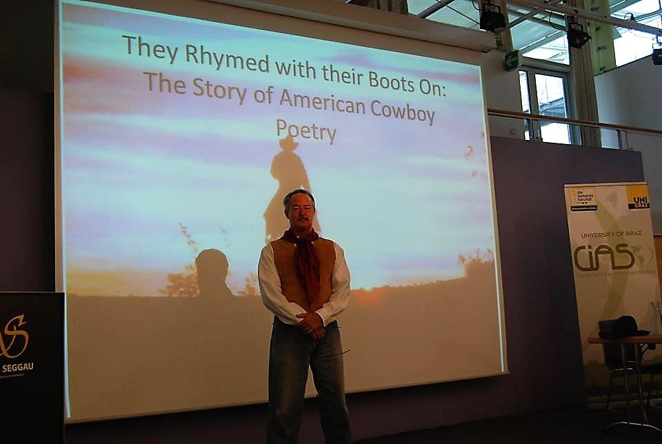 Jim Blasingame gives a conference presentation about cowboy poetry / Courtesy photo