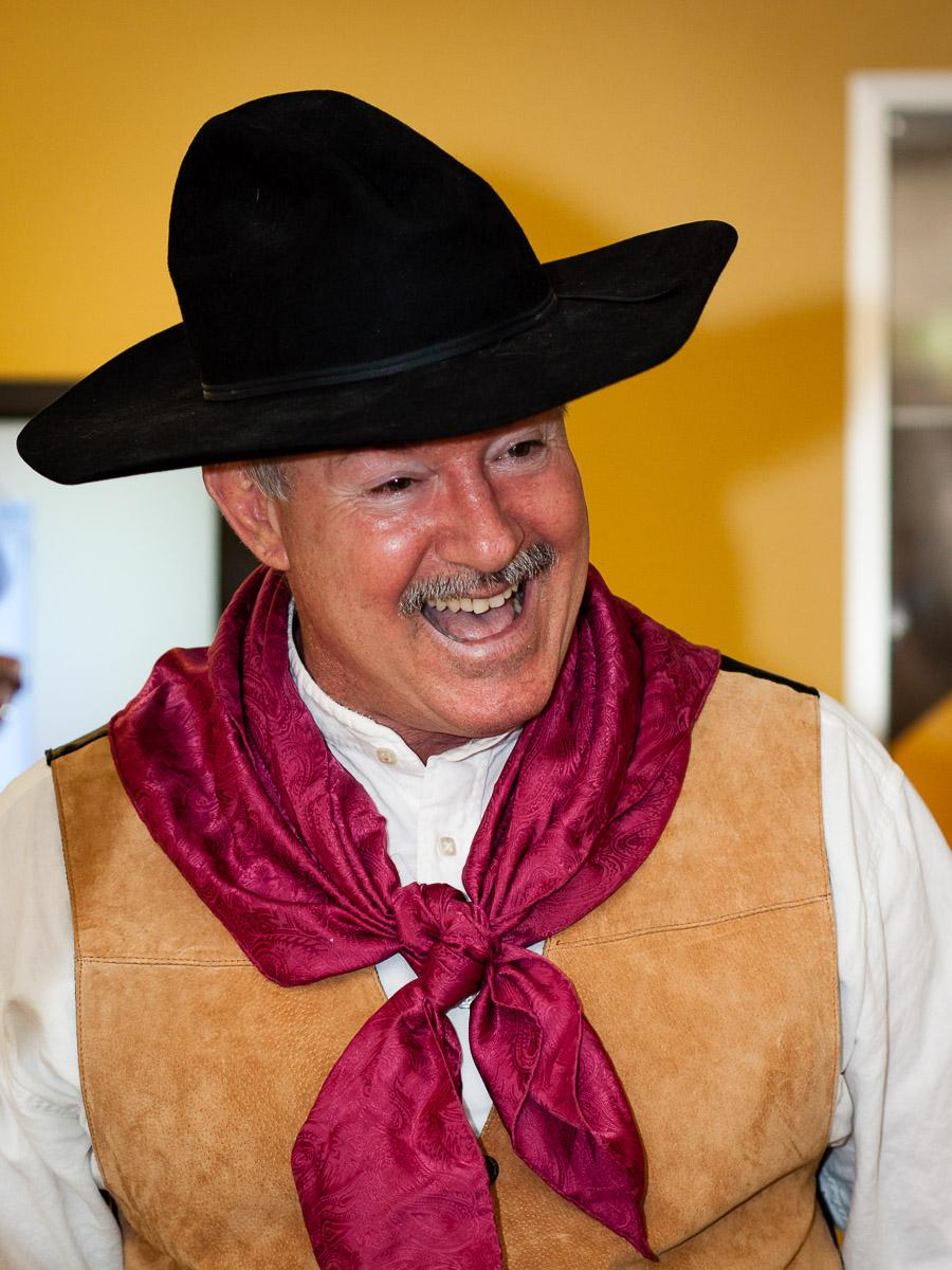 James Blasingame performed cowboy poetry at ASU's Night of the Open Door in 2013. / Photo by Bruce Matsunaga