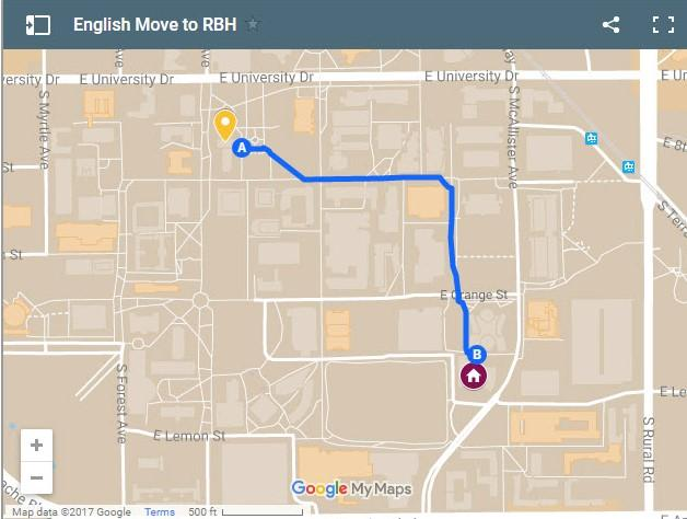 Directions from the Language and Literature Building to Ross-Blakley Hall on the ASU Tempe campus.