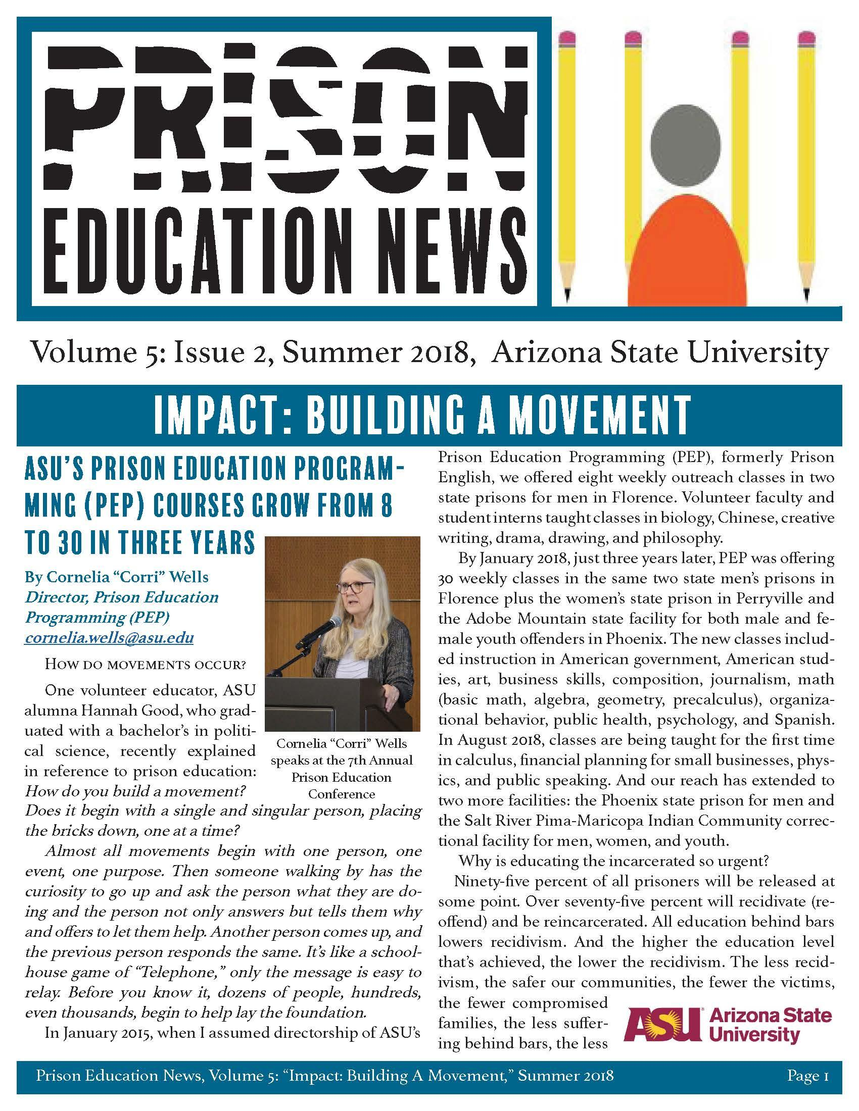 Image of Prison Education News summer 2018