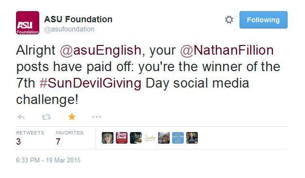 SDGD tweet: English wins a social media challenge (2015)